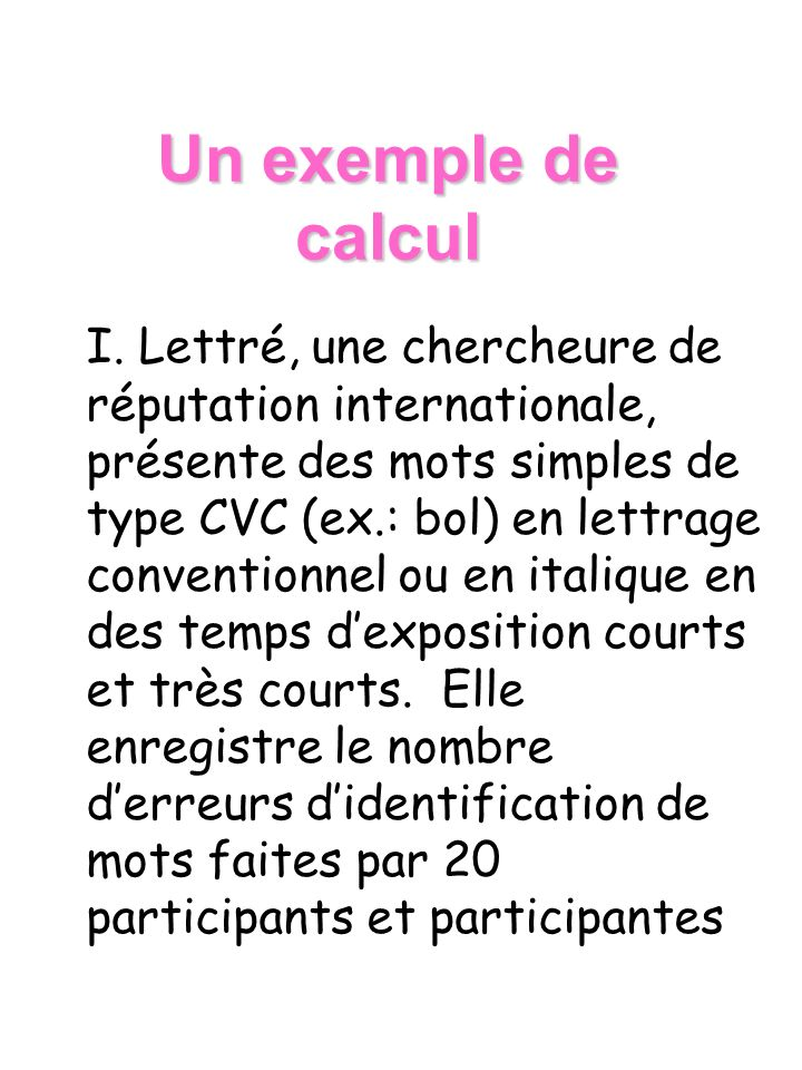 Un exemple de calcul