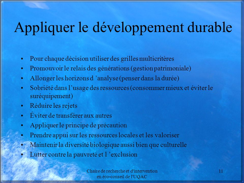 Appliquer le développement durable