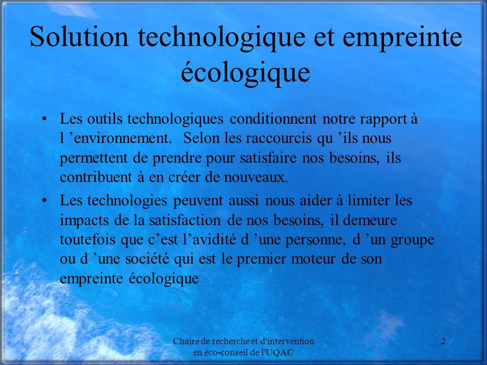 Solution technologique et empreinte écologique