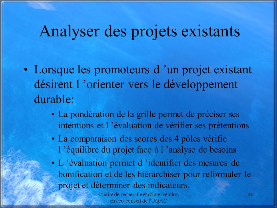 Analyser des projets existants