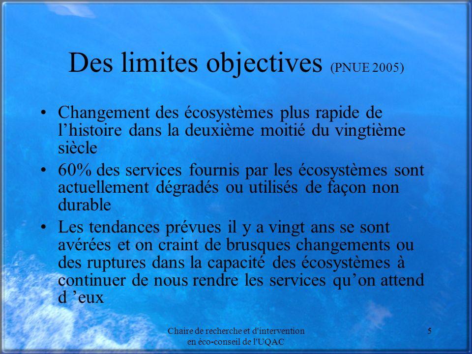 Des limites objectives (PNUE 2005)