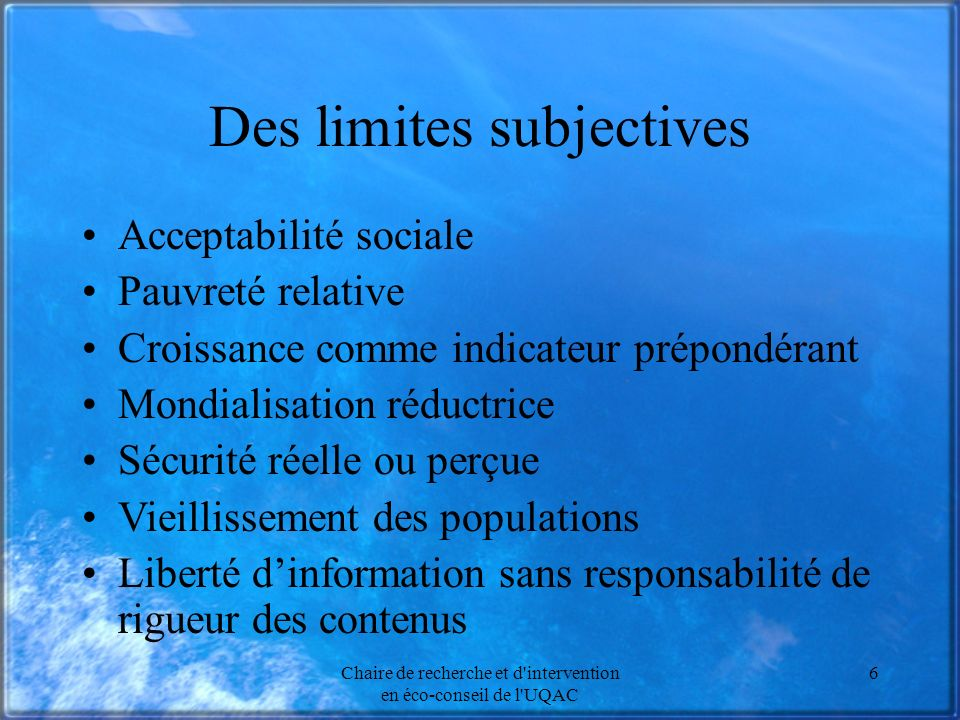 Des limites subjectives