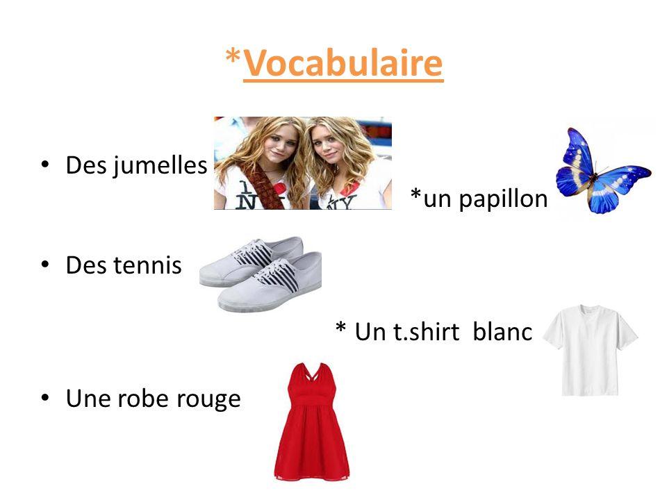 *Vocabulaire Des jumelles *un papillon Des tennis * Un t.shirt blanc