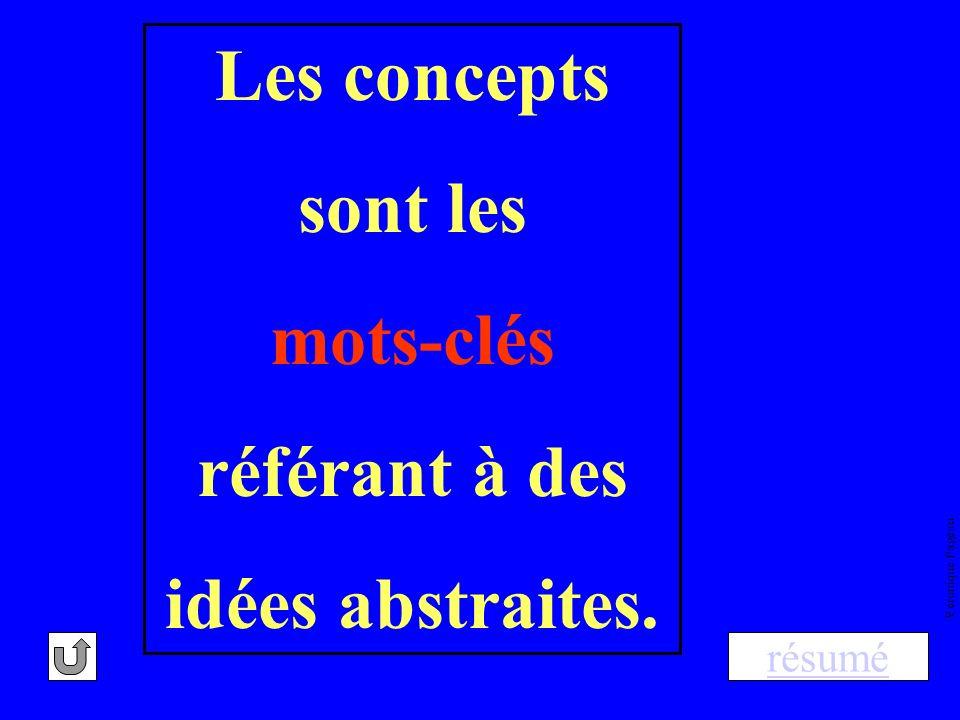 Les concepts sont les mots-clés référant à des idées abstraites.
