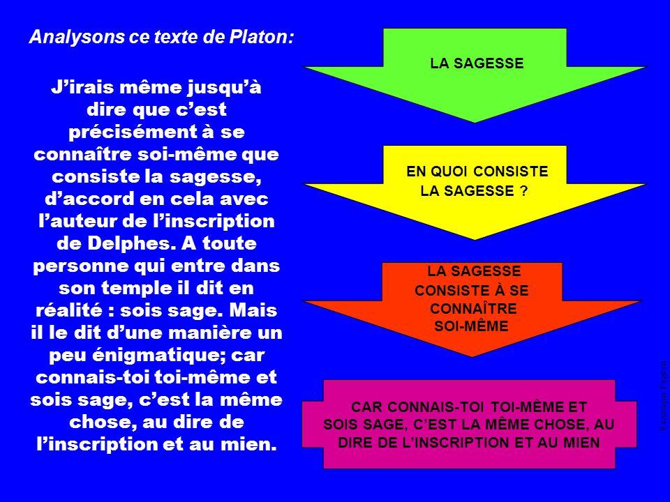 LA SAGESSE EN QUOI CONSISTE LA SAGESSE Analysons ce texte de Platon: