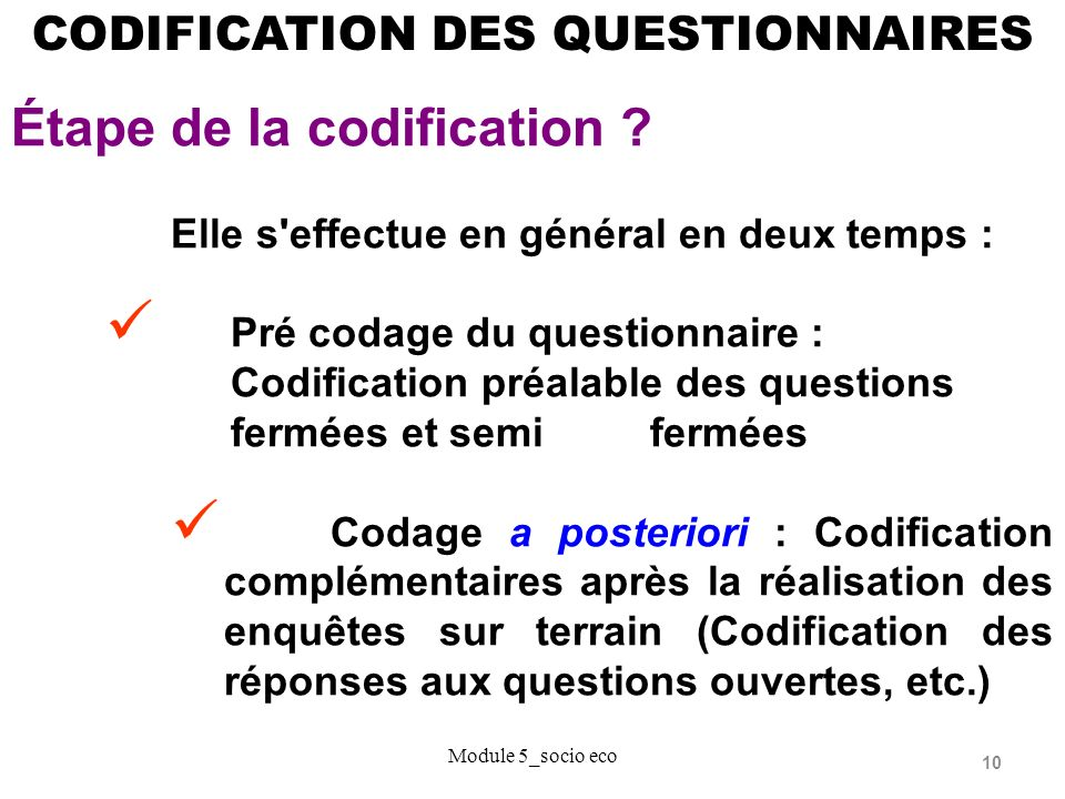 Étape de la codification
