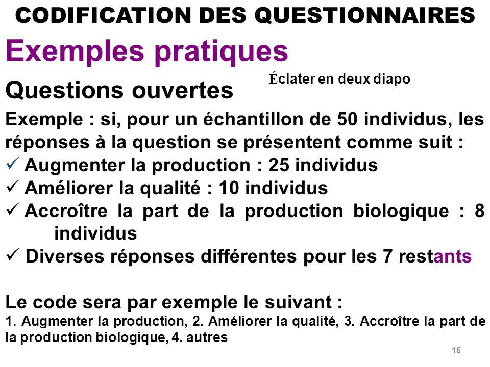 Exemples pratiques Questions ouvertes CODIFICATION DES QUESTIONNAIRES