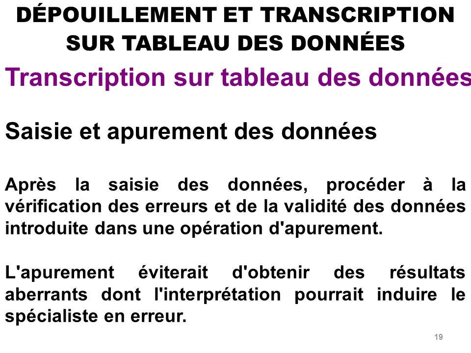 DÉPOUILLEMENT ET TRANSCRIPTION SUR TABLEAU DES DONNÉES