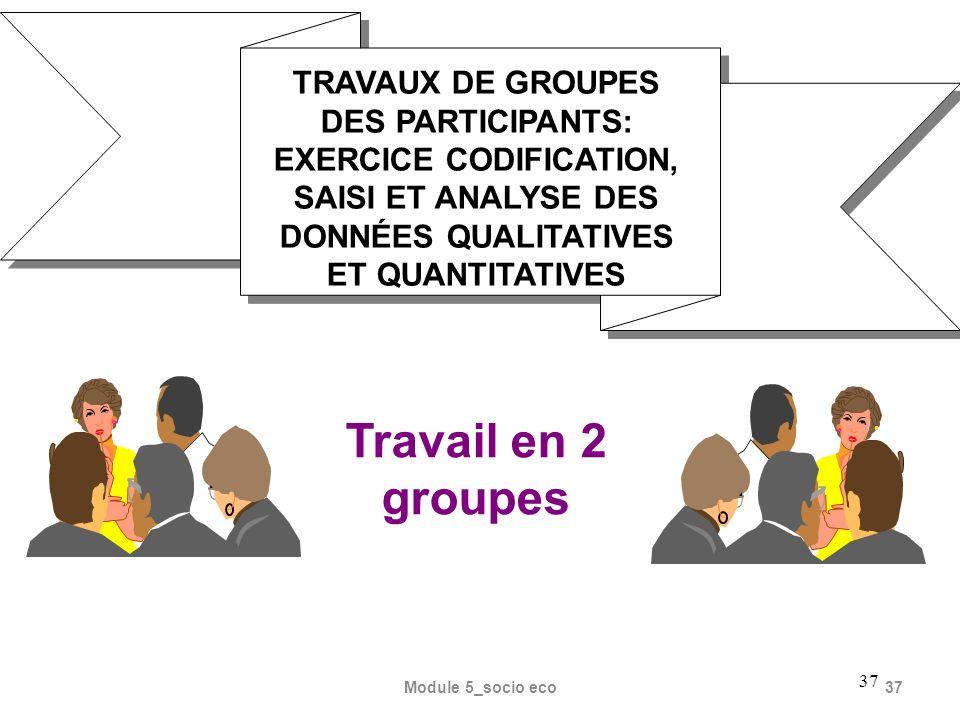 TRAVAUX DE GROUPES DES PARTICIPANTS: EXERCICE CODIFICATION, SAISI ET ANALYSE DES DONNÉES QUALITATIVES ET QUANTITATIVES