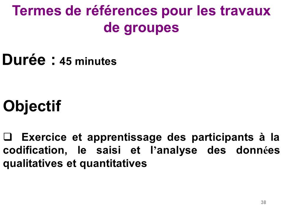 Termes de références pour les travaux de groupes