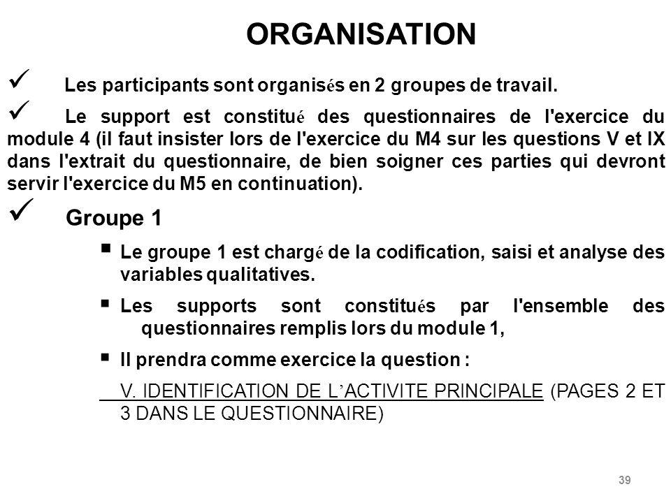 ORGANISATION Les participants sont organisés en 2 groupes de travail.