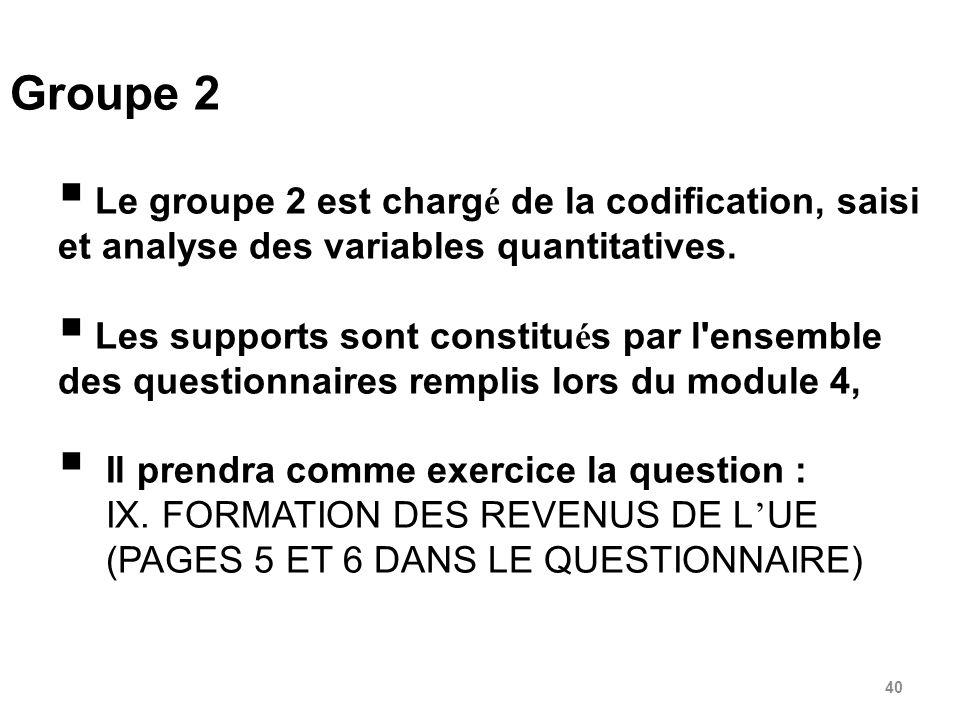 Groupe 2 Le groupe 2 est chargé de la codification, saisi et analyse des variables quantitatives.