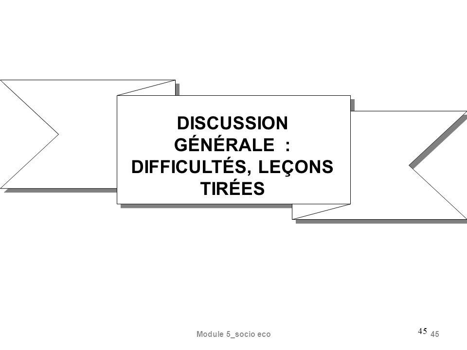 DISCUSSION GÉNÉRALE : DIFFICULTÉS, LEÇONS TIRÉES