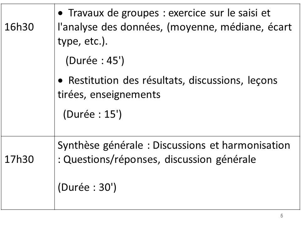16h30 Travaux de groupes : exercice sur le saisi et l analyse des données, (moyenne, médiane, écart type, etc.).