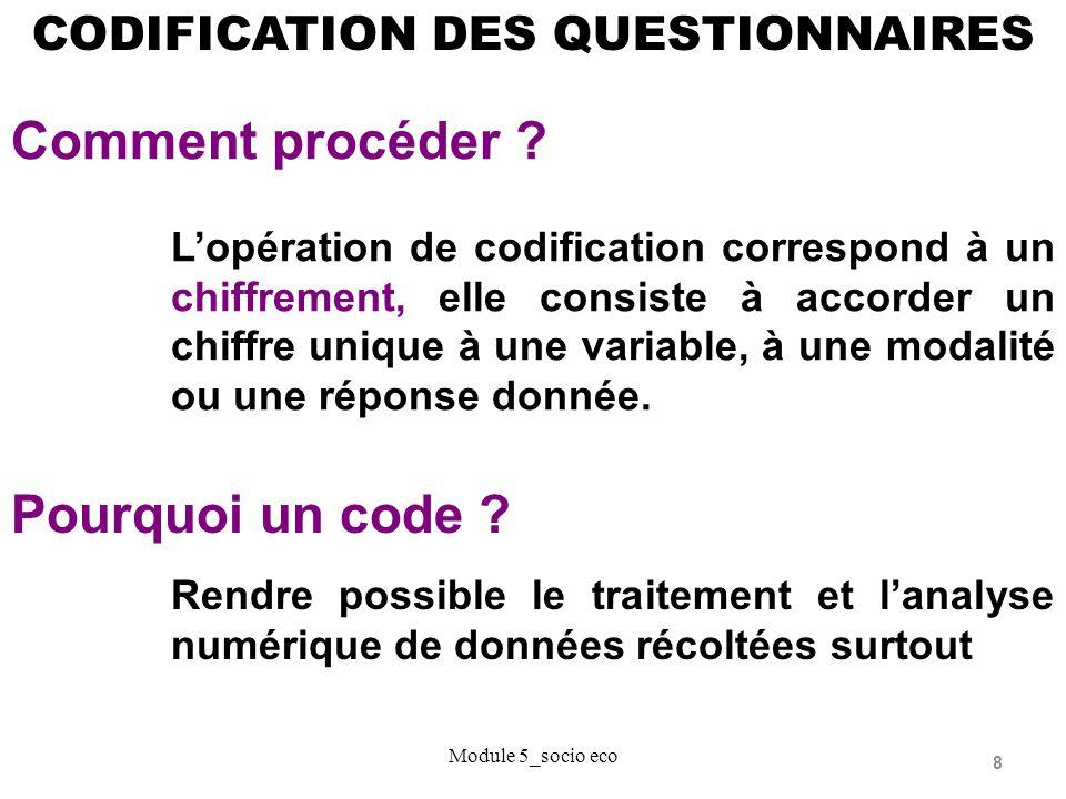 Comment procéder Pourquoi un code CODIFICATION DES QUESTIONNAIRES