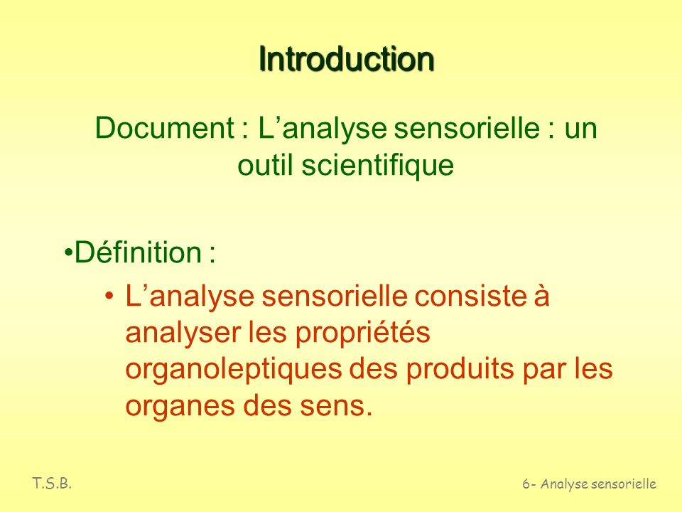 Document : L'analyse sensorielle : un outil scientifique