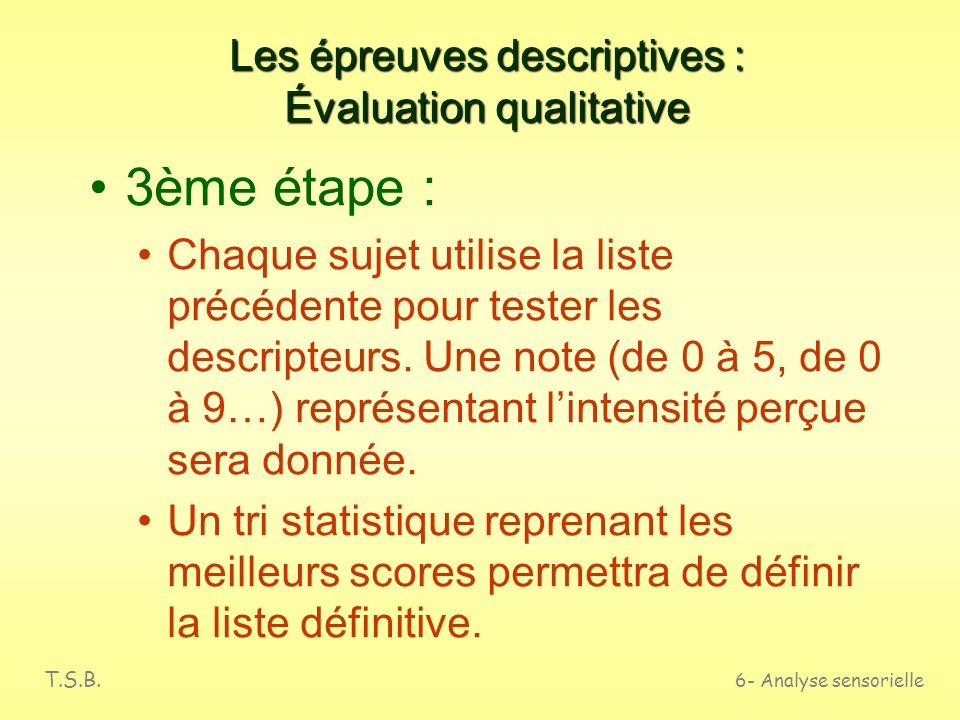 Les épreuves descriptives : Évaluation qualitative