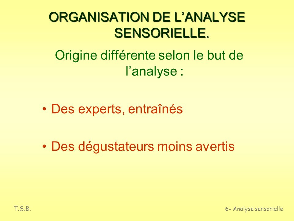 ORGANISATION DE L'ANALYSE SENSORIELLE.