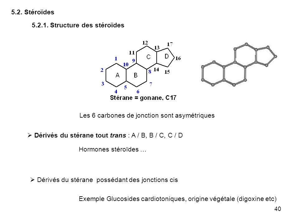 5.2. Stéroïdes 5.2.1. Structure des stéroïdes. Les 6 carbones de jonction sont asymétriques.  Dérivés du stérane tout trans : A / B, B / C, C / D.
