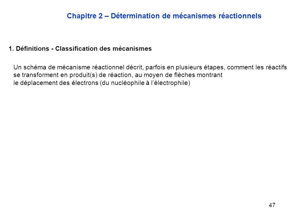 Chapitre 2 – Détermination de mécanismes réactionnels