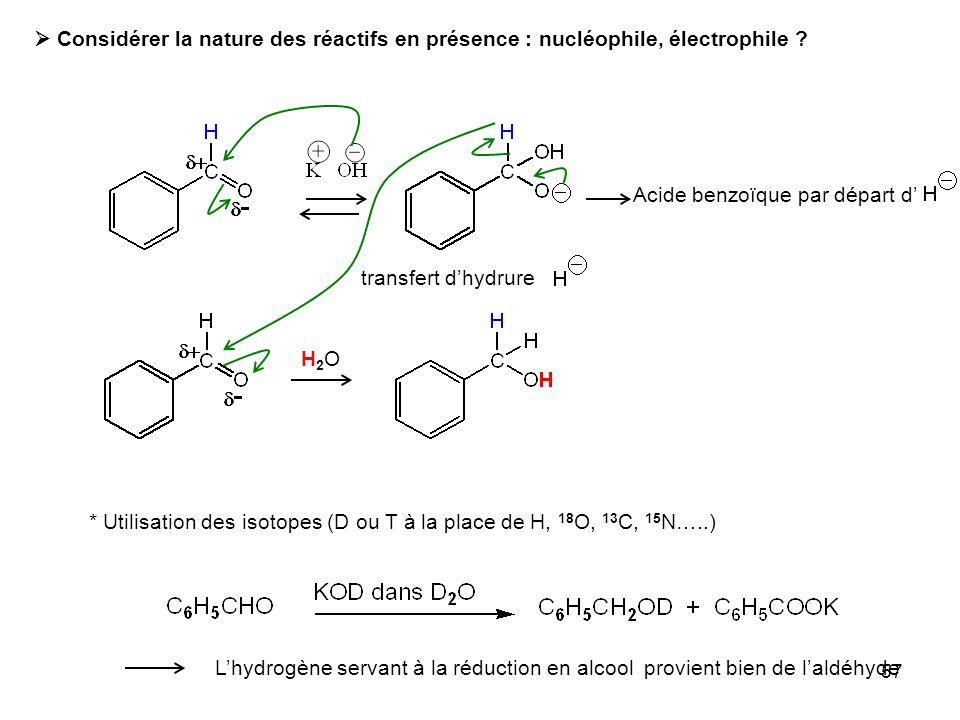  Considérer la nature des réactifs en présence : nucléophile, électrophile