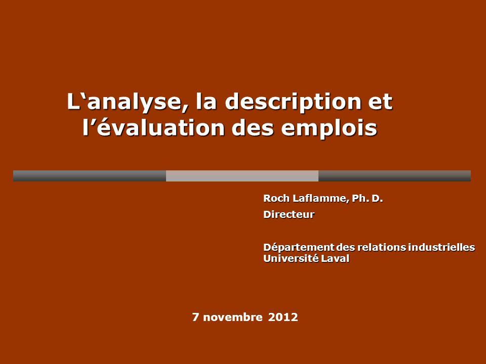 L'analyse, la description et l'évaluation des emplois