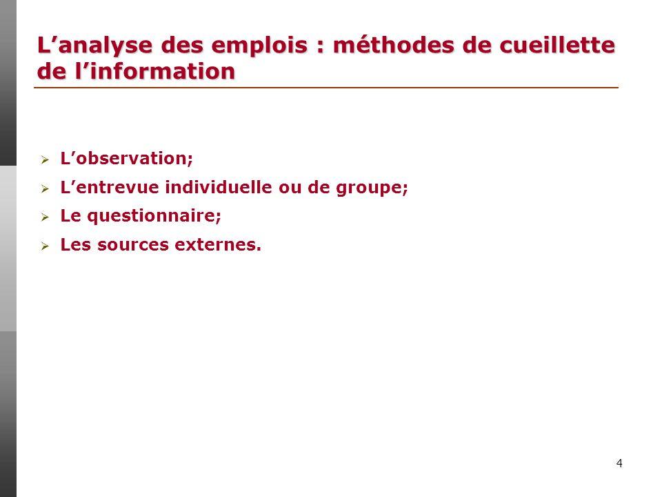 L'analyse des emplois : méthodes de cueillette de l'information