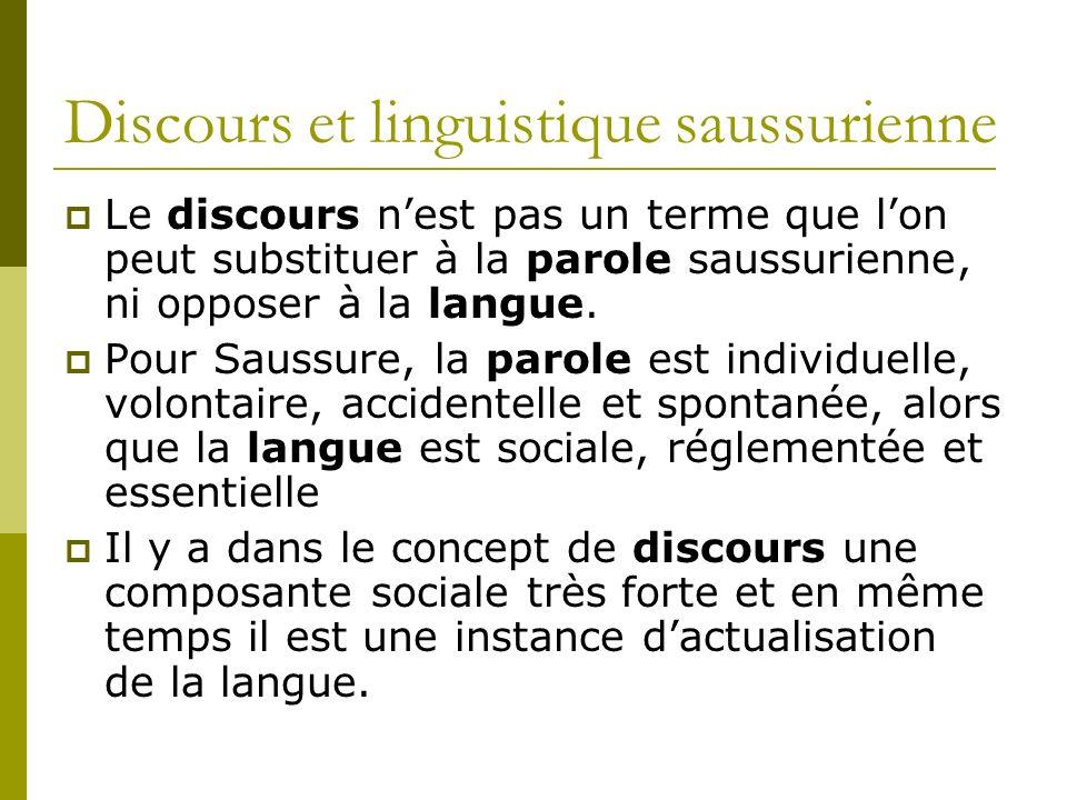 Discours et linguistique saussurienne