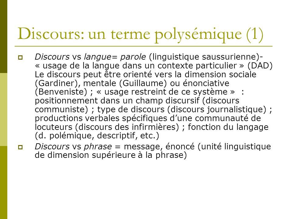 Discours: un terme polysémique (1)