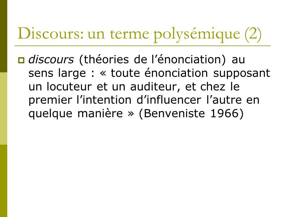 Discours: un terme polysémique (2)