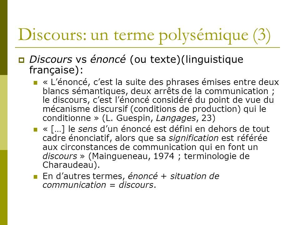 Discours: un terme polysémique (3)