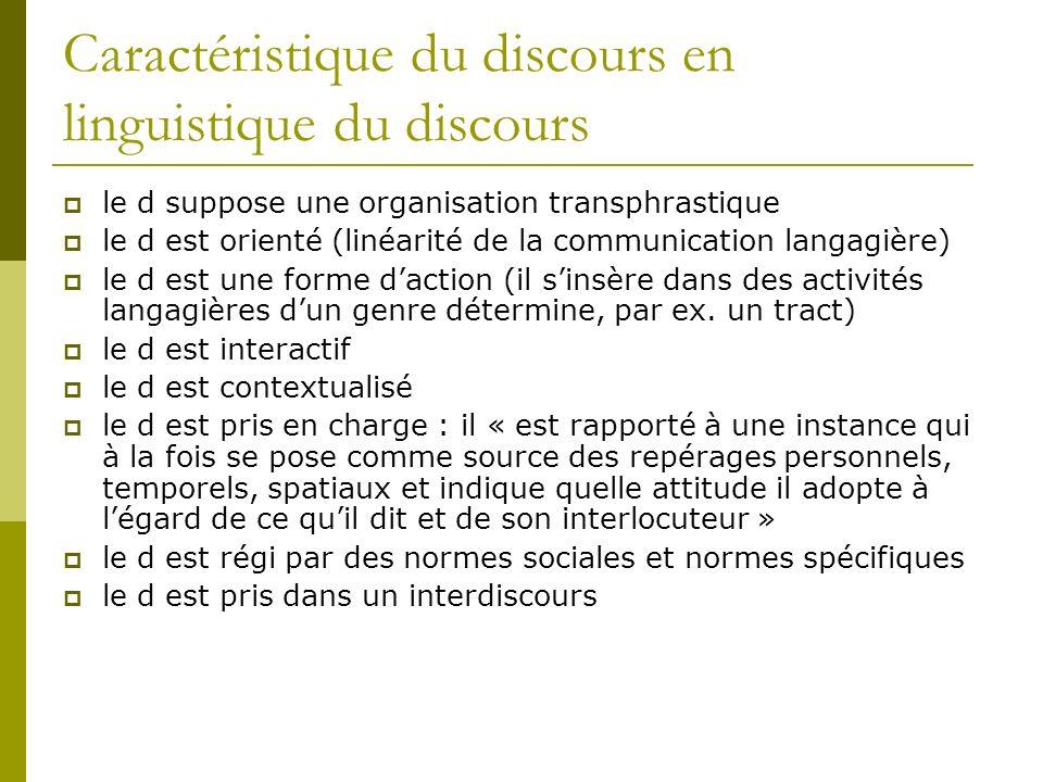 Caractéristique du discours en linguistique du discours