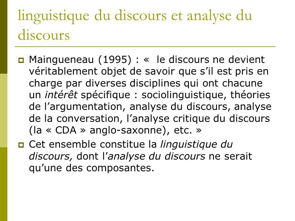 linguistique du discours et analyse du discours