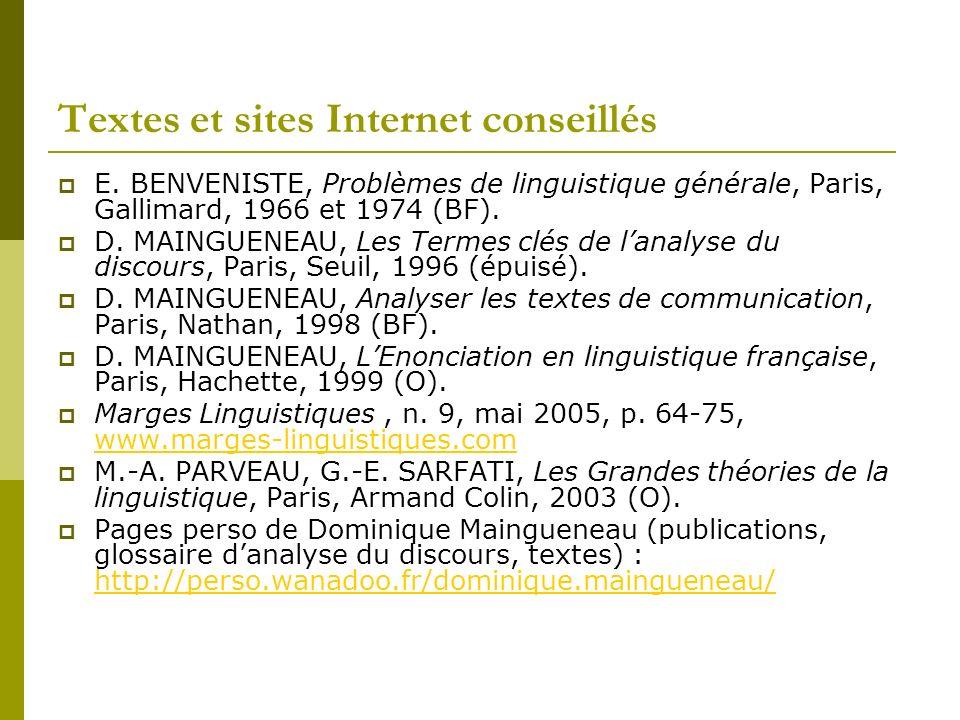 Textes et sites Internet conseillés