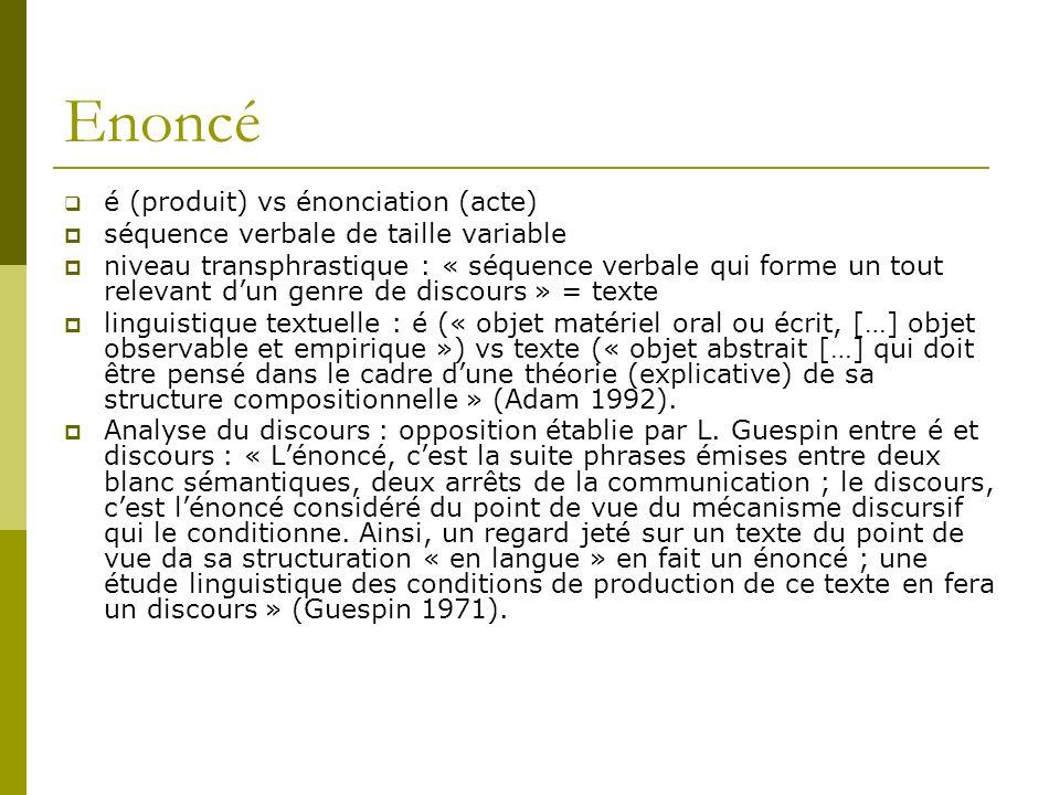 Enoncé é (produit) vs énonciation (acte)