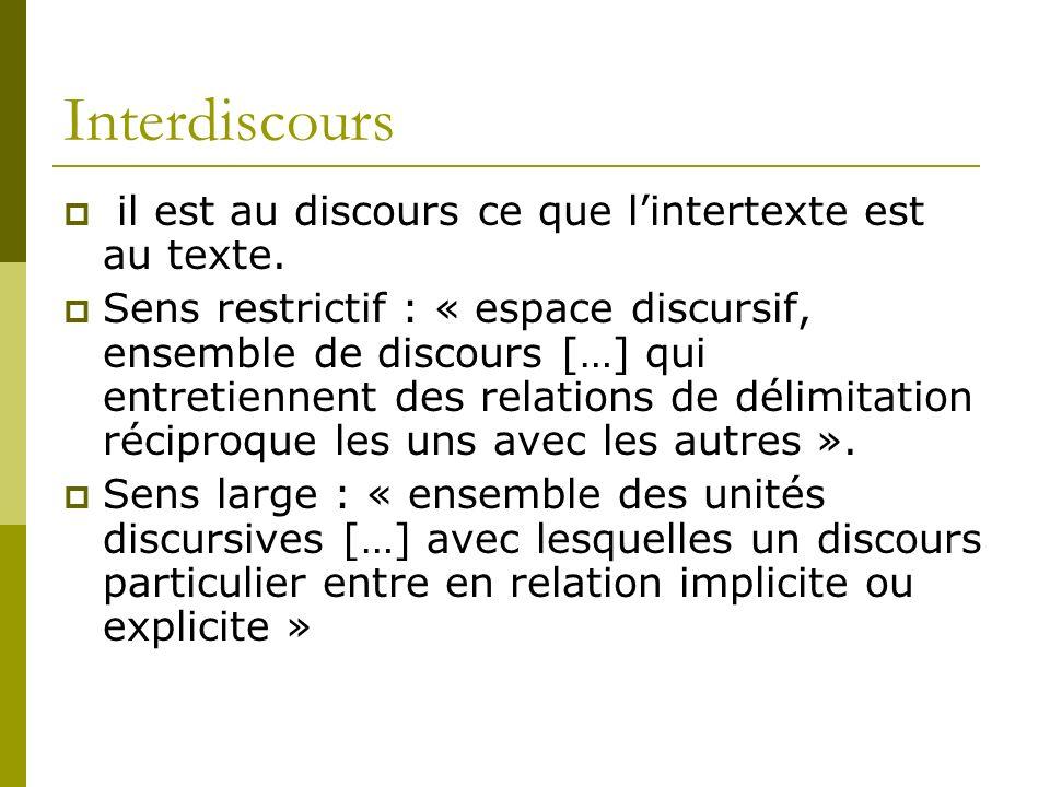 Interdiscours il est au discours ce que l'intertexte est au texte.