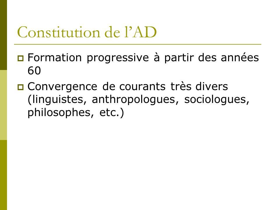 Constitution de l'AD Formation progressive à partir des années 60