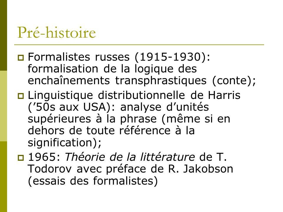Pré-histoire Formalistes russes (1915-1930): formalisation de la logique des enchaînements transphrastiques (conte);