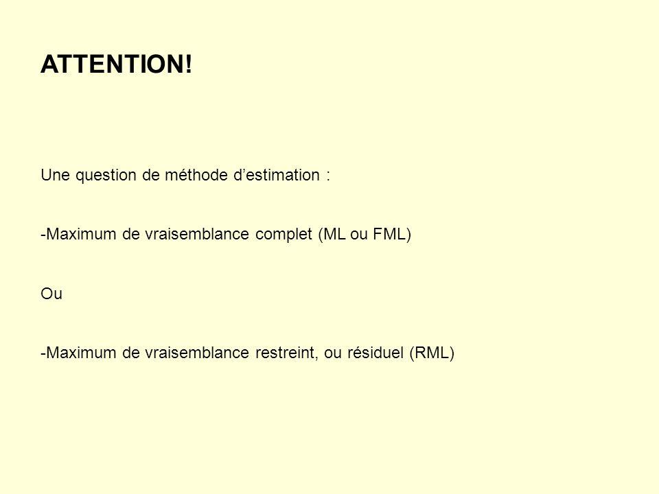 ATTENTION! Une question de méthode d'estimation :