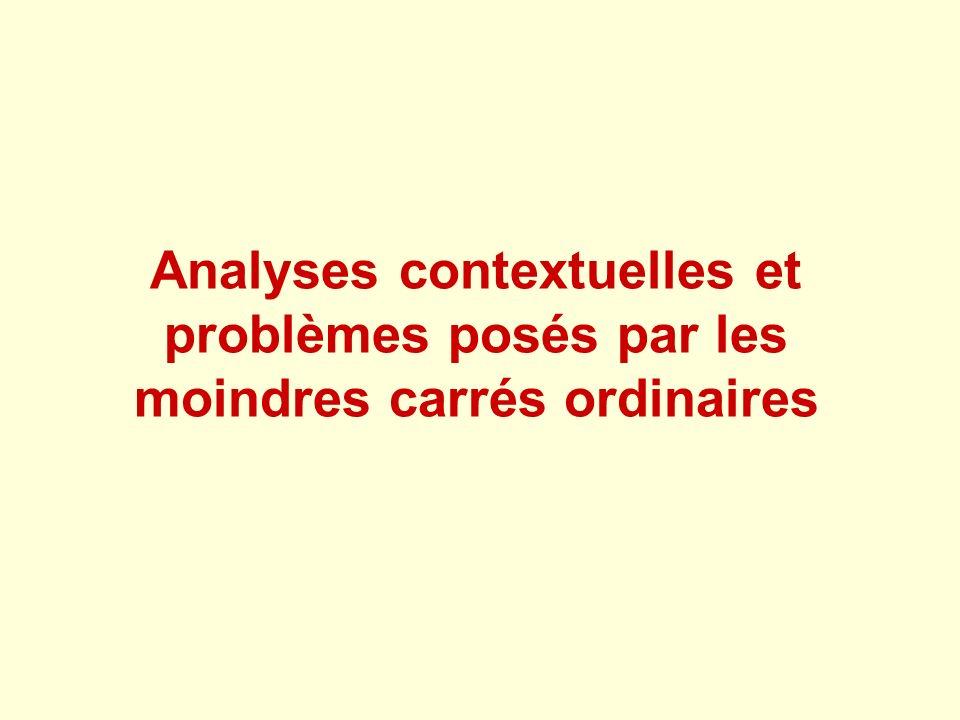 Analyses contextuelles et problèmes posés par les moindres carrés ordinaires