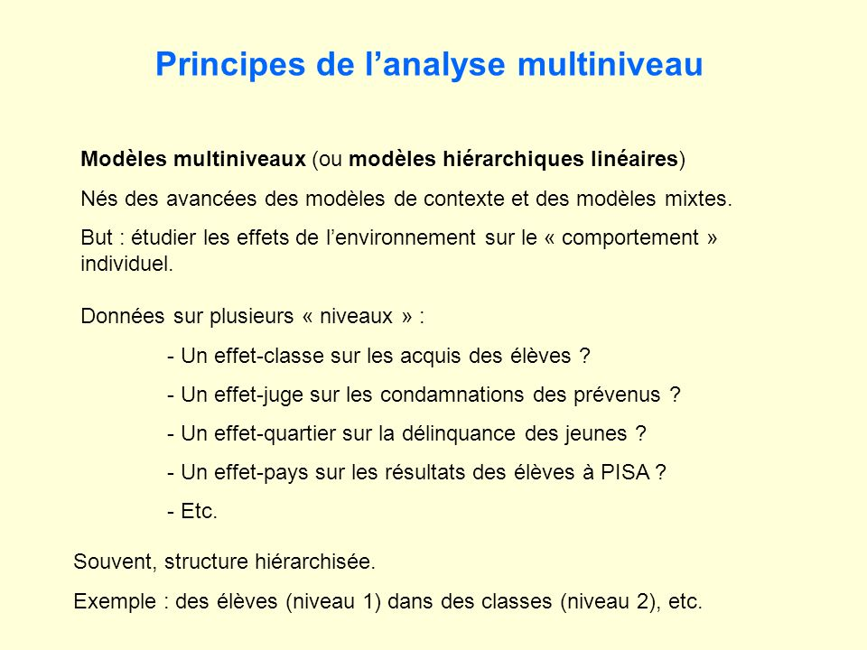 Principes de l'analyse multiniveau