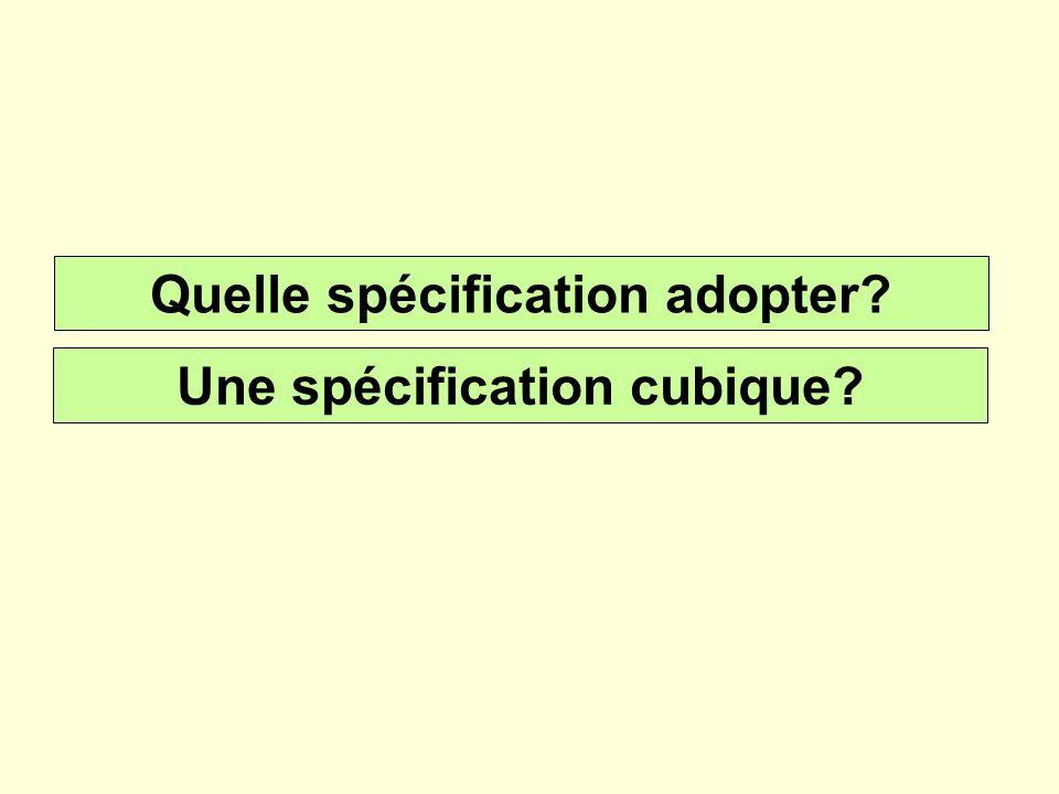Quelle spécification adopter Une spécification cubique