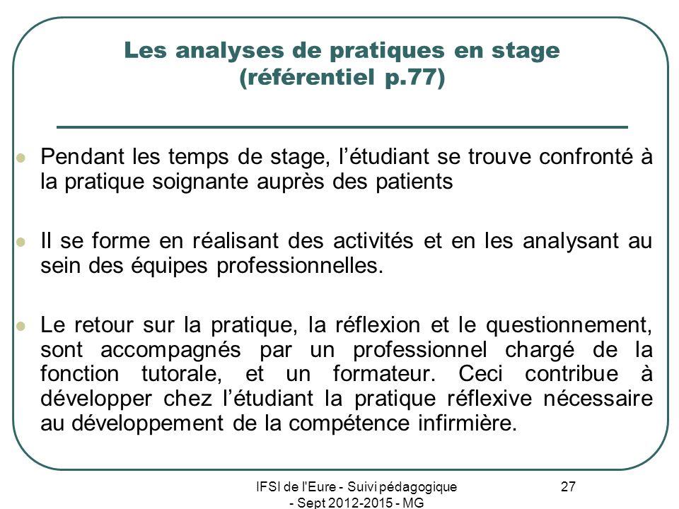 Les analyses de pratiques en stage (référentiel p.77)