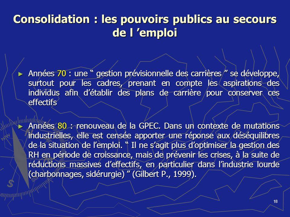 Consolidation : les pouvoirs publics au secours de l 'emploi