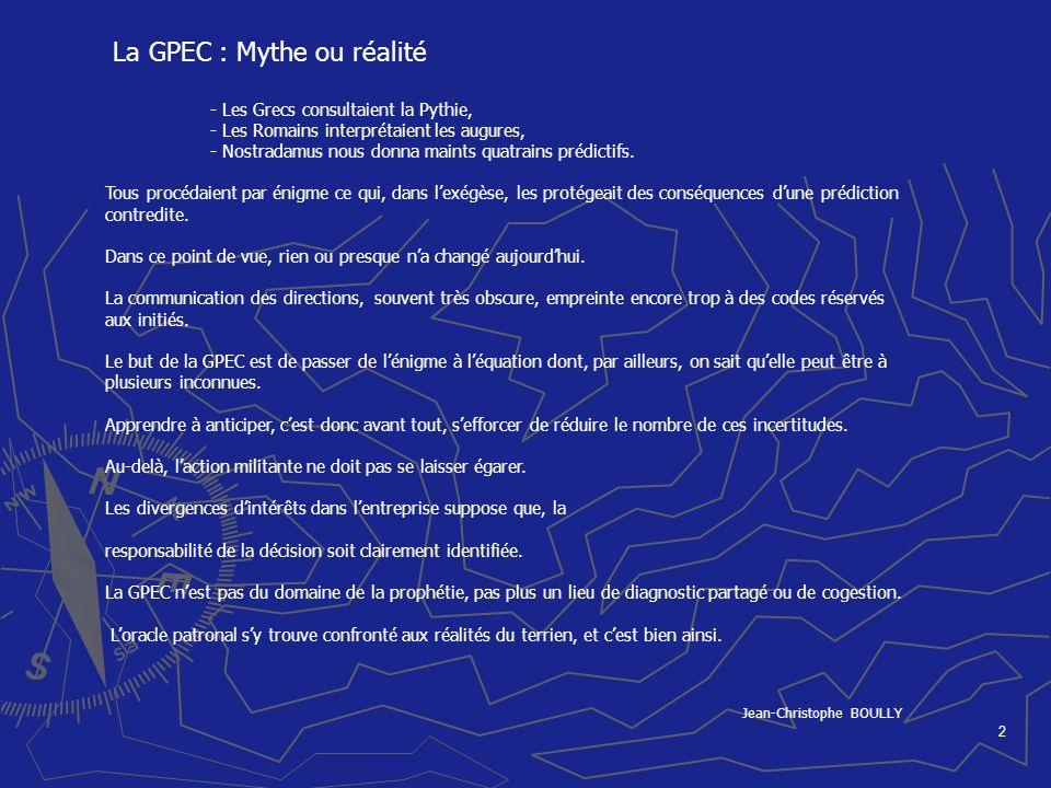 La GPEC : Mythe ou réalité Jean-Christophe BOULLY