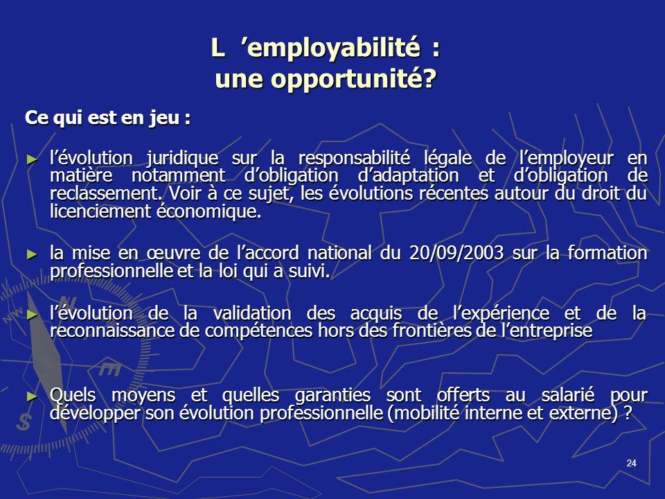 L 'employabilité : une opportunité