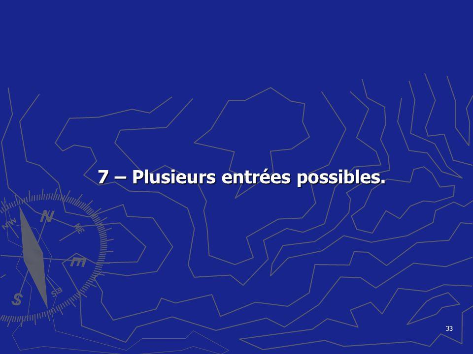 7 – Plusieurs entrées possibles.