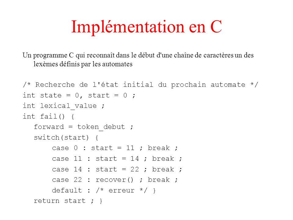 Implémentation en C Un programme C qui reconnaît dans le début d une chaîne de caractères un des lexèmes définis par les automates.