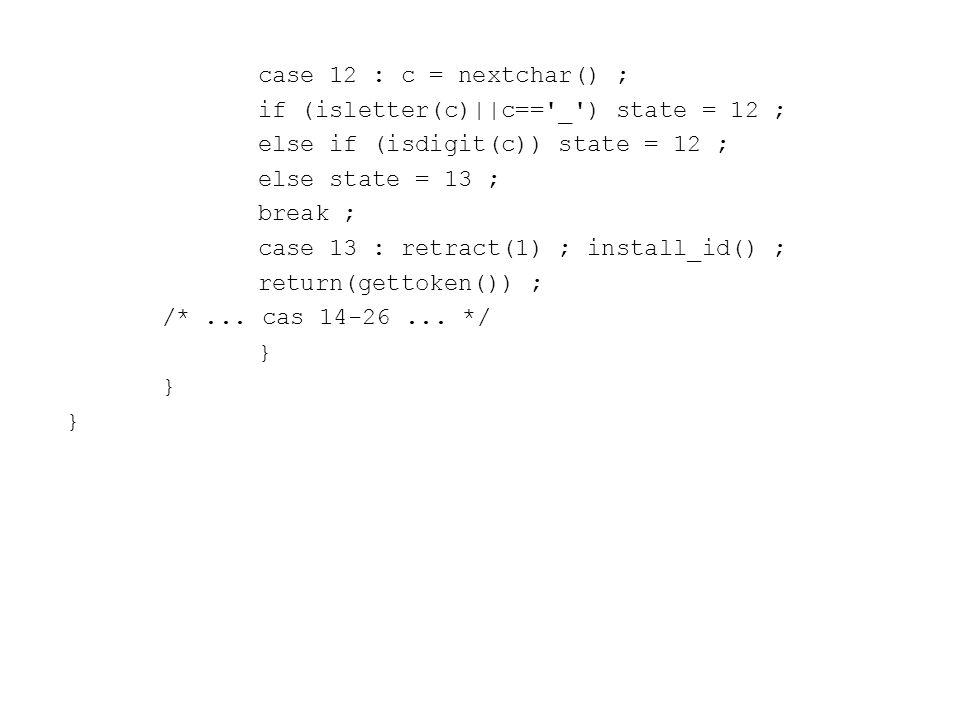 case 12 : c = nextchar() ; if (isletter(c)||c== _ ) state = 12 ; else if (isdigit(c)) state = 12 ;