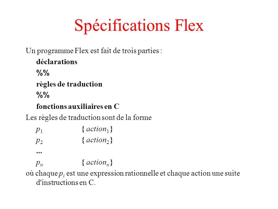 Spécifications Flex Un programme Flex est fait de trois parties :